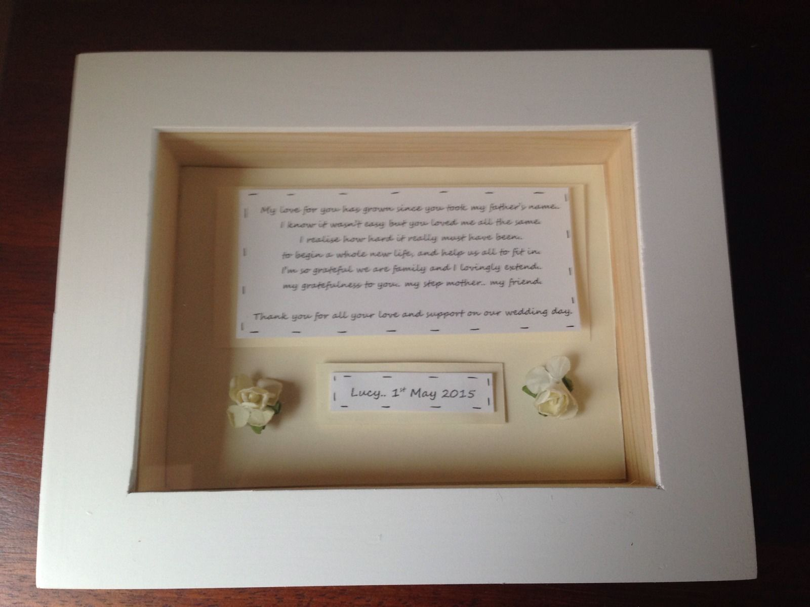 shabby personalised chic box frame gift for step mother of the bride mum mom - Mother Of The Bride Picture Frame